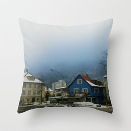 blue fog in Bregenz Throw Pillow