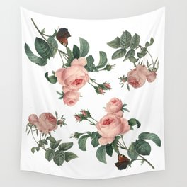 Rose Garden Butterfly Pink on White Wall Tapestry