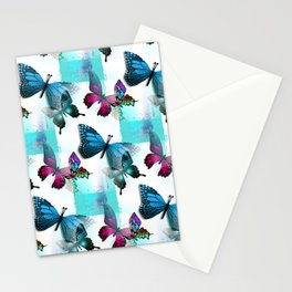 Morpho Blue Aqua Pink Butterflies Stationery Cards