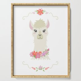 Floral Bust of a Llama Serving Tray