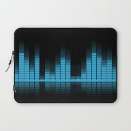 Cool Blue Graphic Equalizer Music on black Laptop Sleeve