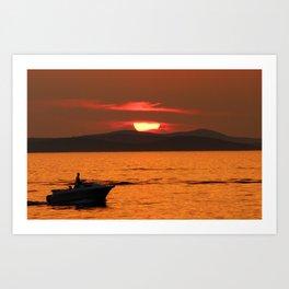 Sun behind the clouds - Sunset in Zadar Art Print