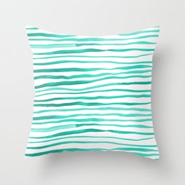 Irregular watercolor lines - turquoise Throw Pillow