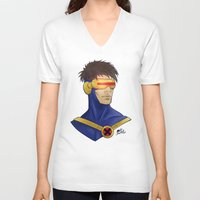 cyclops V-neck T-shirts featuring Cyclops by Matthew Bartlett