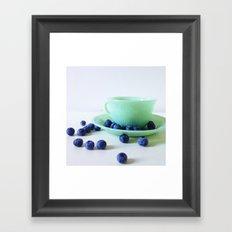 Retro Breakfast - Jadite and Blueberries Framed Art Print