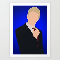 how i met your mother Art Prints featuring Barney Stinson - How I Met Your Mother by Tom Storrer