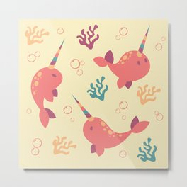 To the Window to the Narwhal - Coral & Cream Metal Print