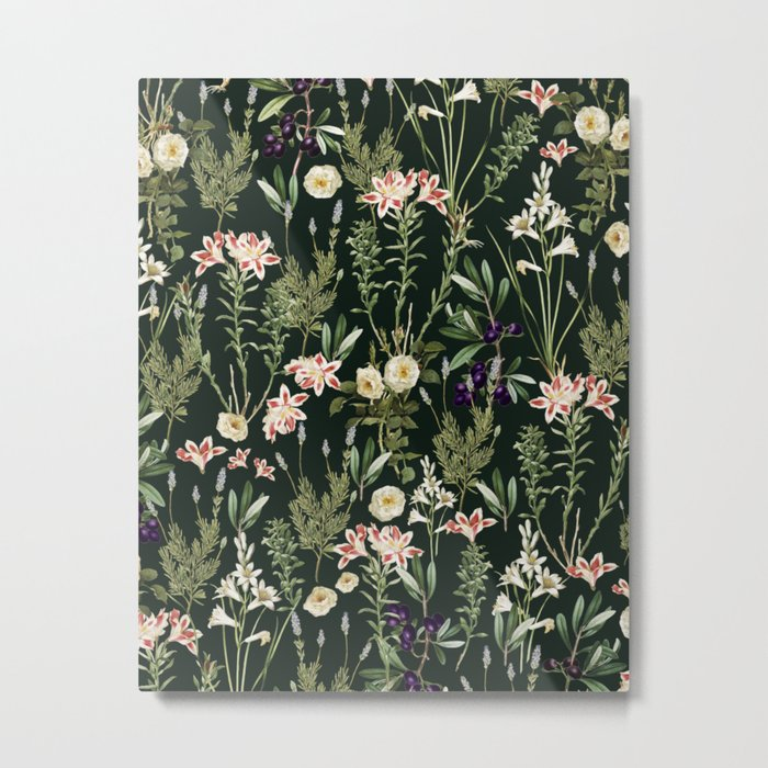 Dark Botanical Garden #society6 #natureart #pattern Metal Print