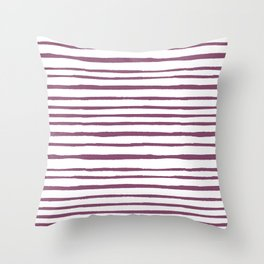 Magenta pink watercolor hand painted stripes Throw Pillow