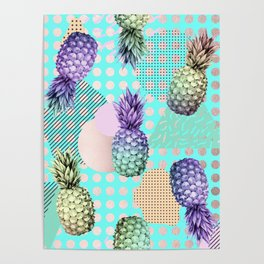 Pineapple Summer Rainbow Rose Gold Poster