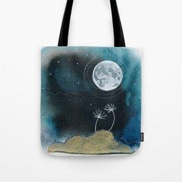 Moon Series #11 Watercolor + Ink Painting Tote Bag