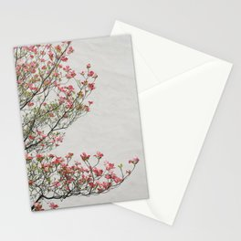 Pink Blossoms Against a White Wall Stationery Cards