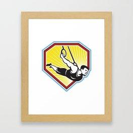 Strongman Lifting Kettlebell Front Retro Framed Art Print