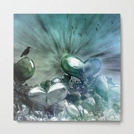 Lost Hearts in Blue, Digital Art Metal Print