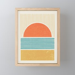 Sun Beach Stripes - Mid Century Modern Abstract Framed Mini Art Print