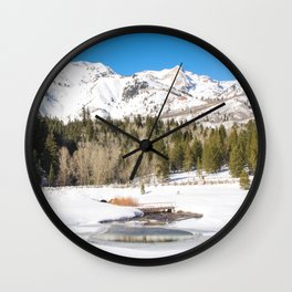 Adventure In The Snowy Mountains Wall Clock