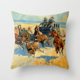 """Western Art """"Downing the Nigh Leader"""" Throw Pillow"""