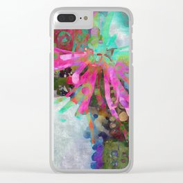 Floral Burst in Pink and Turquoise Clear iPhone Case