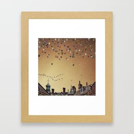 Innumerable wandering balloons Framed Art Print