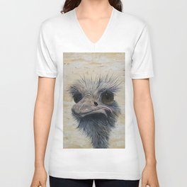 Ostrich, Ostrich Painting, by Faye Unisex V-Neck