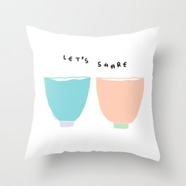 Kitchen Illustration - Let's Share Tea, Coffee, Soup and Love Throw Pillow