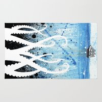 kraken Area & Throw Rugs featuring Kraken Watercolor by Beth Naeyaert
