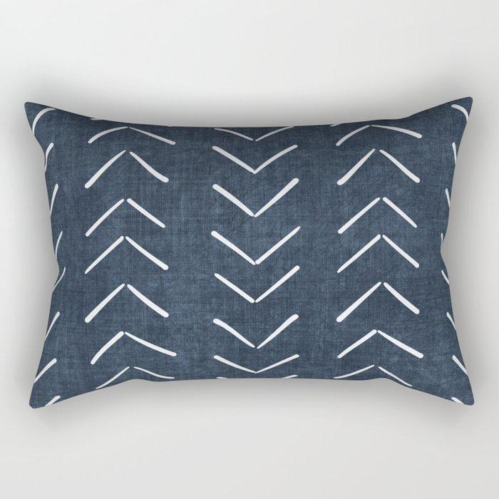 Mud Cloth Big Arrows in Navy Rectangular Pillow