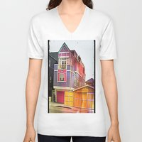 barbie V-neck T-shirts featuring Barbie House by Kim Ramage
