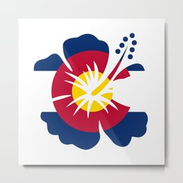 Colorado Hibiscus Flag Metal Print