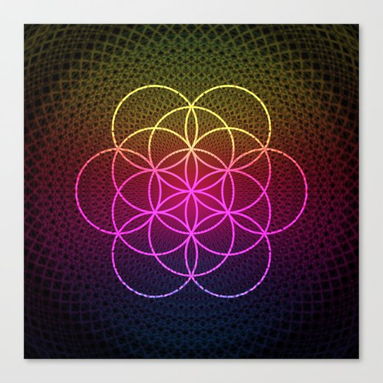 Sacred Rainbow Flower of Life Canvas Print