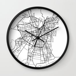 SANTIAGO DE CHILE BLACK CITY STREET MAP ART Wall Clock