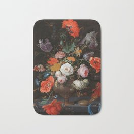 "Abraham Mignon ""Still Life with Flowers and a Watch"" Bath Mat"