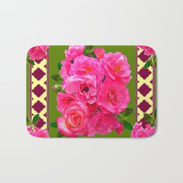 VIBRANT PINK ROSES ON MOSS GREEN PATTERN Bath Mat