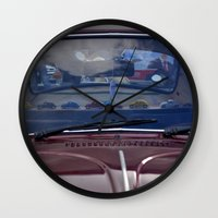 volkswagen Wall Clocks featuring volkswagen beetle car by gzm_guvenc