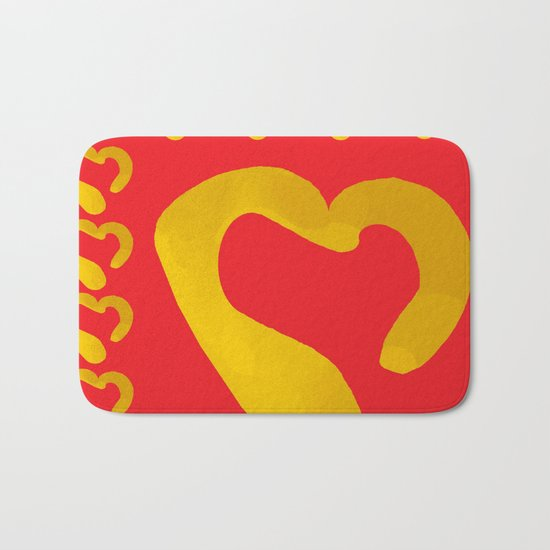 Gold Hearts on Red Bath Mat
