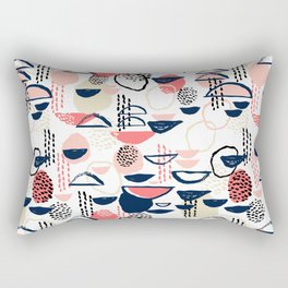 Cheli - modern abstract art print brushstroke painting trendy hipster peach pink pastel navy abstrac Rectangular Pillow