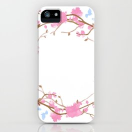 Bird and pink flowers iPhone Case