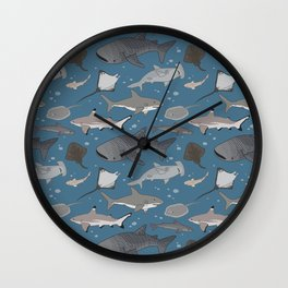 Sharks and Rays Wall Clock