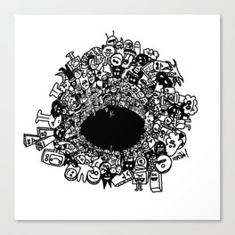Monsters falling in hole, doodle art Canvas Print