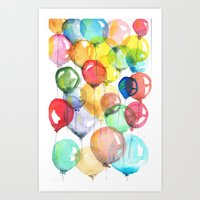 balloons Art Prints featuring balloons by Katja Main