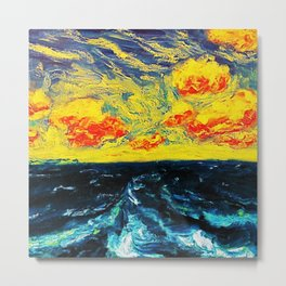 Sky and Waves Oceanic Landscape Painting by Emil Nolde Metal Print