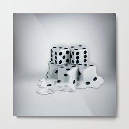 Dice Cubes Melting Metal Print