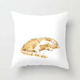 Tabby Cat Painting Throw Pillow