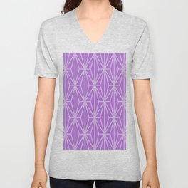 Light Purple Retro Geometric Pattern Unisex V-Neck