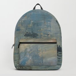 Impression Sunrise Painting by Claude Monet Backpack