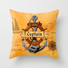 Captain Anchor And Ship Helm Throw Pillow