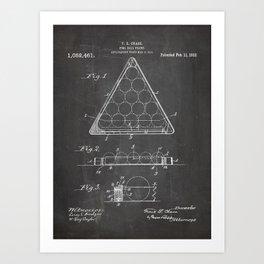 Pool Patent - Billiards Art - Black Chalkboard Art Print