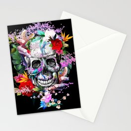 Vintage illustration of skull with flowers Stationery Cards