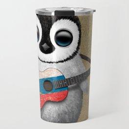 Baby Penguin Playing Russian Flag Guitar Travel Mug