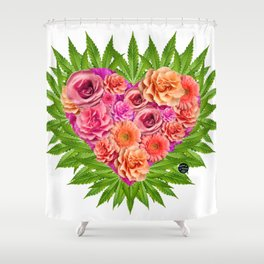 i Heart Pot Leaves Bouquet Shower Curtain